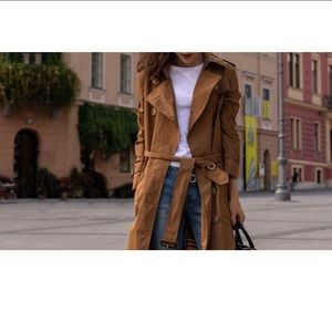 H&M brown fitted trench jacket